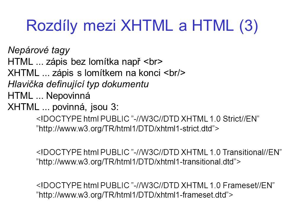Rozdíly mezi XHTML a HTML (3) Nepárové tagy HTML... zápis bez lomítka např XHTML... zápis s lomítkem na konci Hlavička definující typ dokumentu HTML..