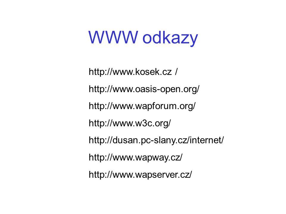 WWW odkazy http://www.kosek.cz / http://www.oasis-open.org/ http://www.wapforum.org/ http://www.w3c.org/ http://dusan.pc-slany.cz/internet/ http://www