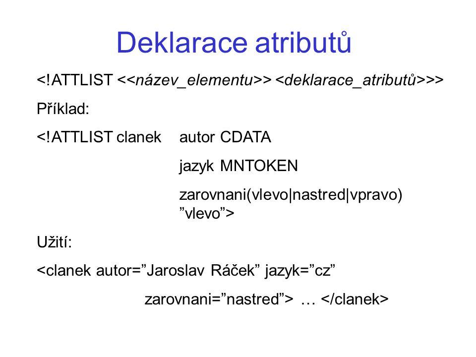 Způsoby připojení DTD k dokumentu...... ]>...