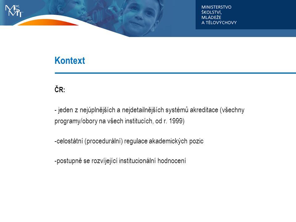 Kontext ČR: - jeden z nejúplnějších a nejdetailnějších systémů akreditace (všechny programy/obory na všech institucích, od r. 1999) -celostátní (proce