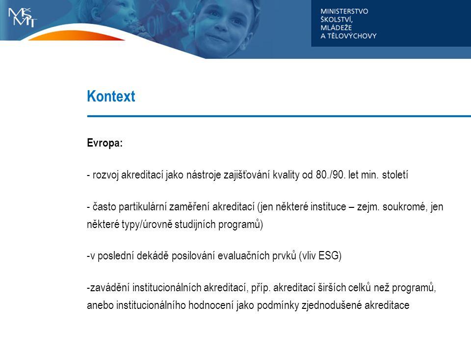 Kontext Evropa: - rozvoj akreditací jako nástroje zajišťování kvality od 80./90. let min. století - často partikulární zaměření akreditací (jen někter