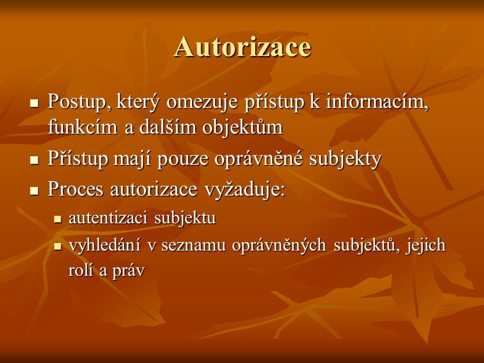 Autorizace Postup, který omezuje přístup k informacím, funkcím a dalším objektům Postup, který omezuje přístup k informacím, funkcím a dalším objektům
