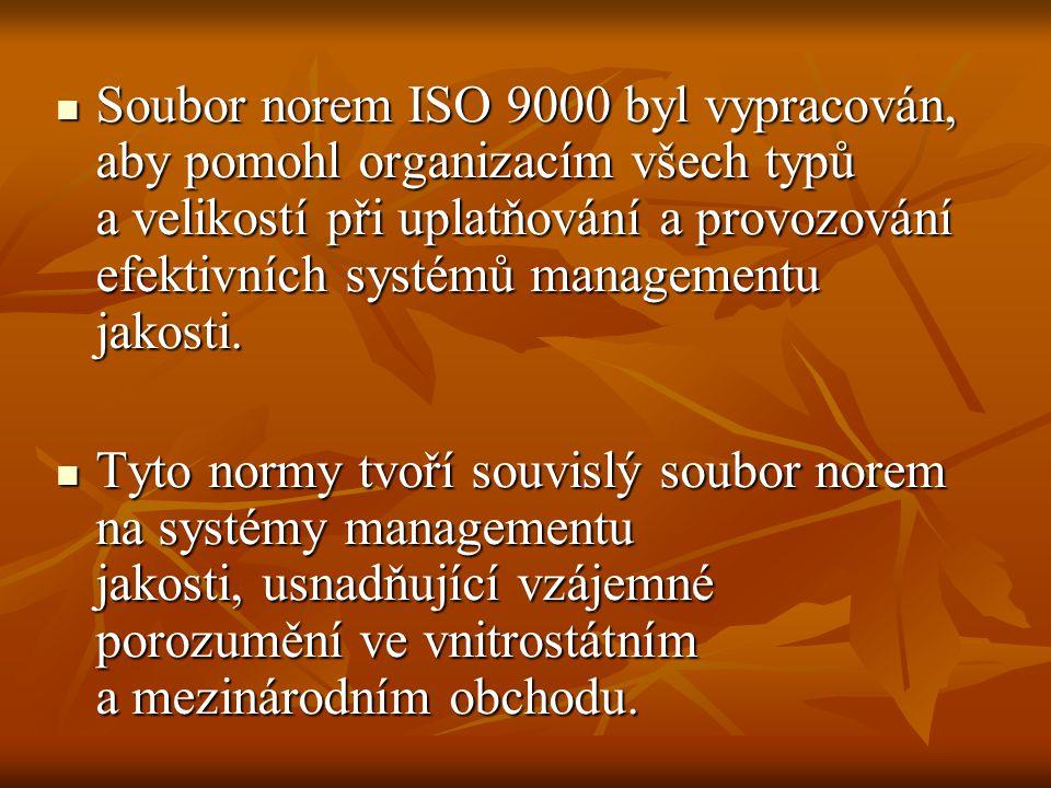 Soubor norem ISO 9000 byl vypracován, aby pomohl organizacím všech typů a velikostí při uplatňování a provozování efektivních systémů managementu jako