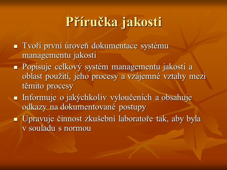Příručka jakosti Tvoří první úroveň dokumentace systému managementu jakosti Tvoří první úroveň dokumentace systému managementu jakosti Popisuje celkov
