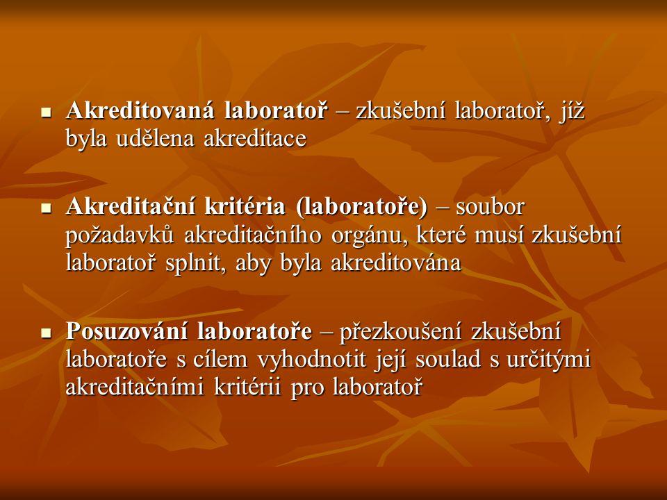 Akreditovaná laboratoř – zkušební laboratoř, jíž byla udělena akreditace Akreditovaná laboratoř – zkušební laboratoř, jíž byla udělena akreditace Akre