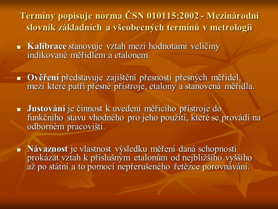 Termíny popisuje norma ČSN 010115:2002 - Mezinárodní slovník základních a všeobecných termínů v metrologii Kalibrace stanovuje vztah mezi hodnotami ve