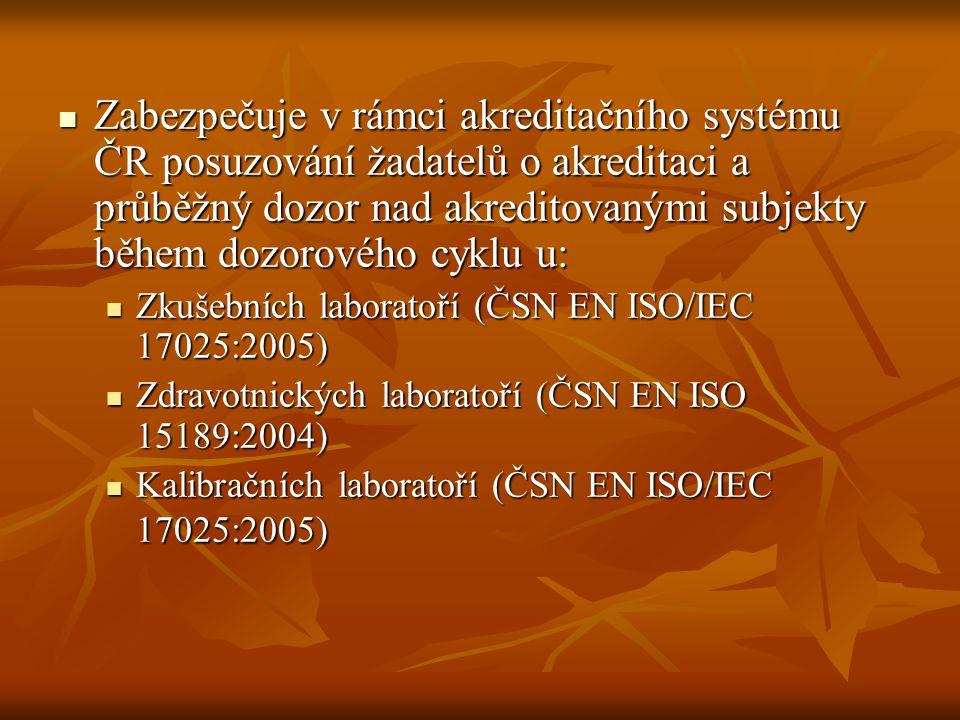 Zabezpečuje v rámci akreditačního systému ČR posuzování žadatelů o akreditaci a průběžný dozor nad akreditovanými subjekty během dozorového cyklu u: Z