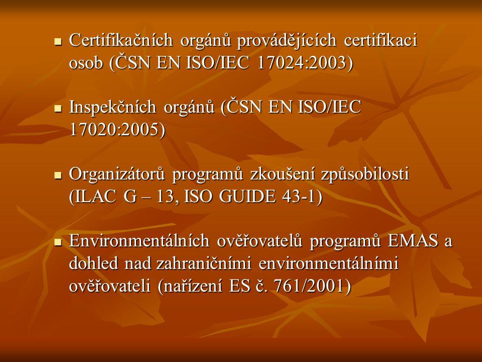 Certifikačních orgánů provádějících certifikaci osob (ČSN EN ISO/IEC 17024:2003) Certifikačních orgánů provádějících certifikaci osob (ČSN EN ISO/IEC