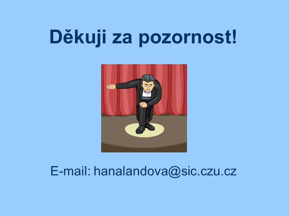 Děkuji za pozornost! E-mail: hanalandova@sic.czu.cz