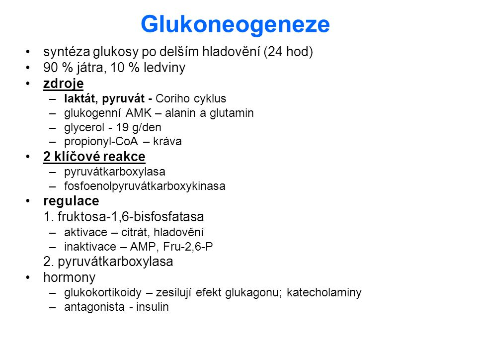 Glukoneogeneze syntéza glukosy po delším hladovění (24 hod) 90 % játra, 10 % ledviny zdroje –laktát, pyruvát - Coriho cyklus –glukogenní AMK – alanin