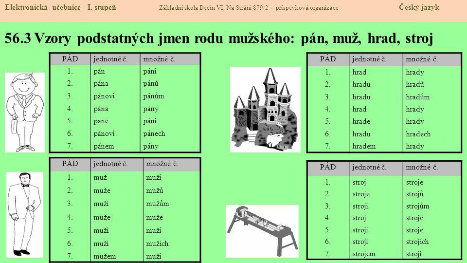 56.3 Vzory podstatných jmen rodu mužského: pán, muž, hrad, stroj Elektronická učebnice - I.