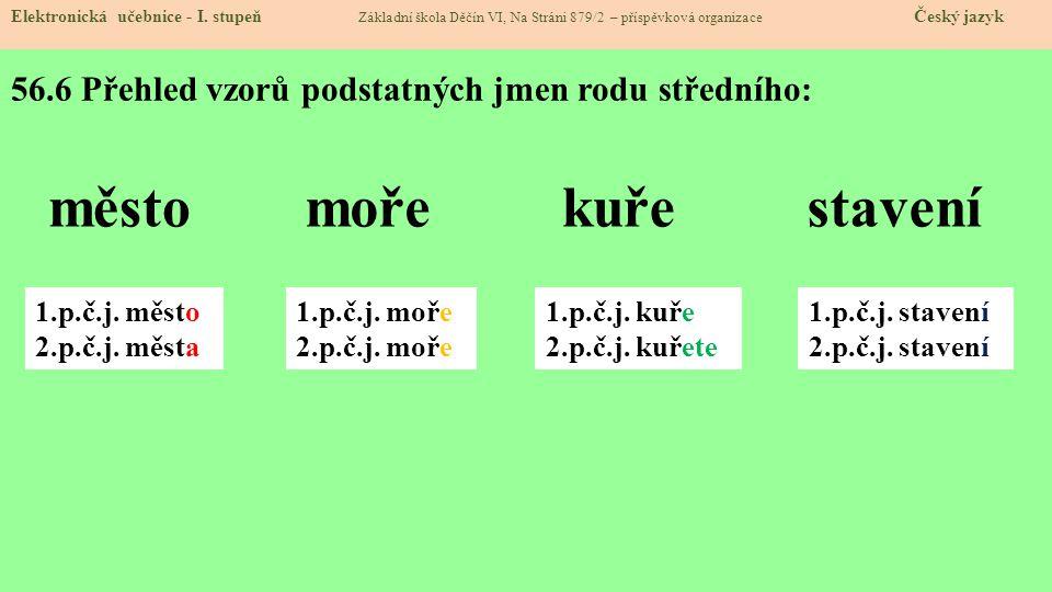 56.6 Přehled vzorů podstatných jmen rodu středního: Elektronická učebnice - I.