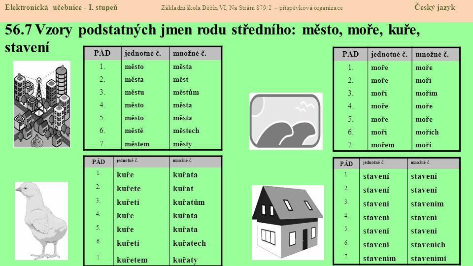 56.7 Vzory podstatných jmen rodu středního: město, moře, kuře, stavení Elektronická učebnice - I.