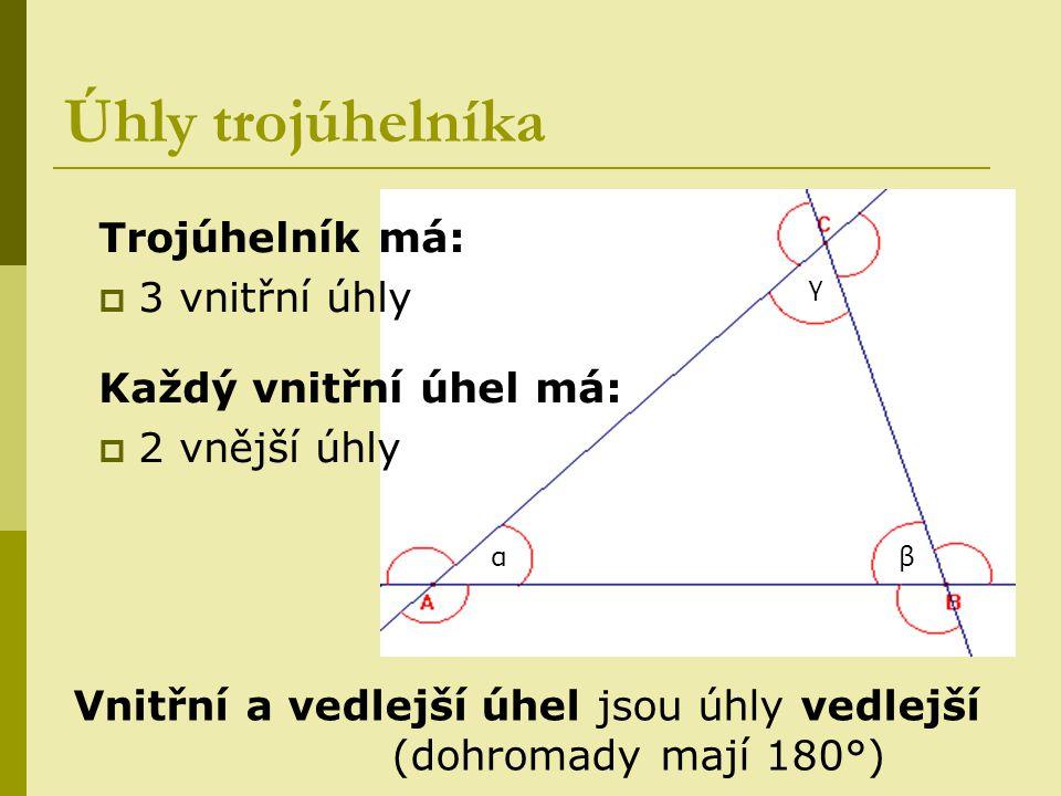 αβ γ Úhly trojúhelníka Trojúhelník má:  3 vnitřní úhly Každý vnitřní úhel má:  2 vnější úhly Vnitřní a vedlejší úhel jsou úhly vedlejší (dohromady m