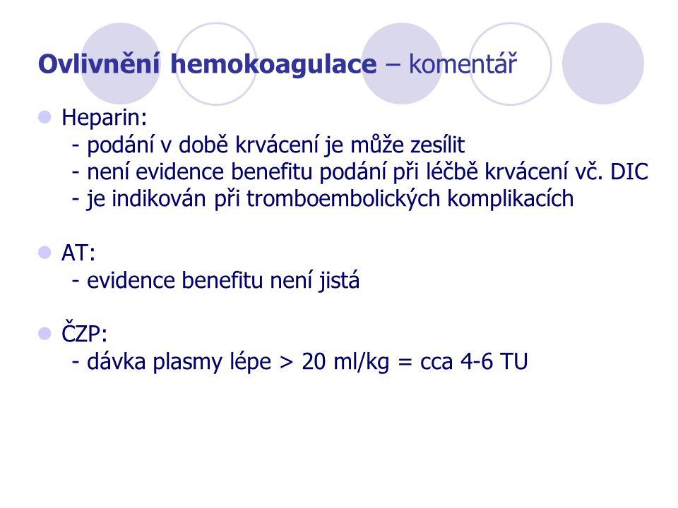 Ovlivnění hemokoagulace – komentář Heparin: - podání v době krvácení je může zesílit - není evidence benefitu podání při léčbě krvácení vč. DIC - je i
