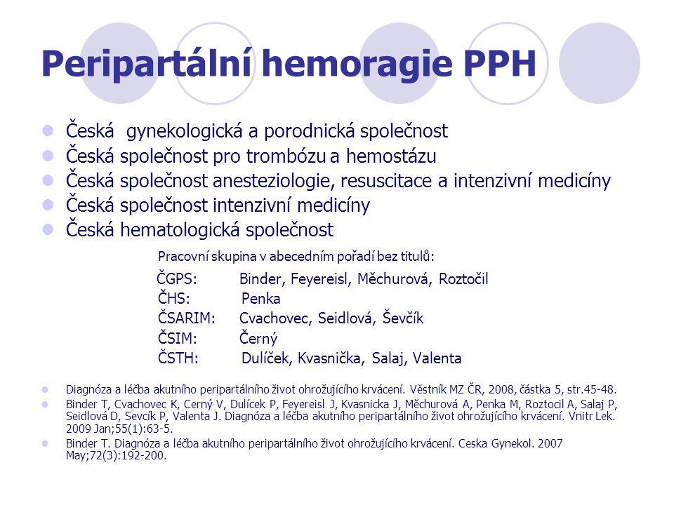 Peripartální hemoragie PPH Česká gynekologická a porodnická společnost Česká společnost pro trombózu a hemostázu Česká společnost anesteziologie, resu