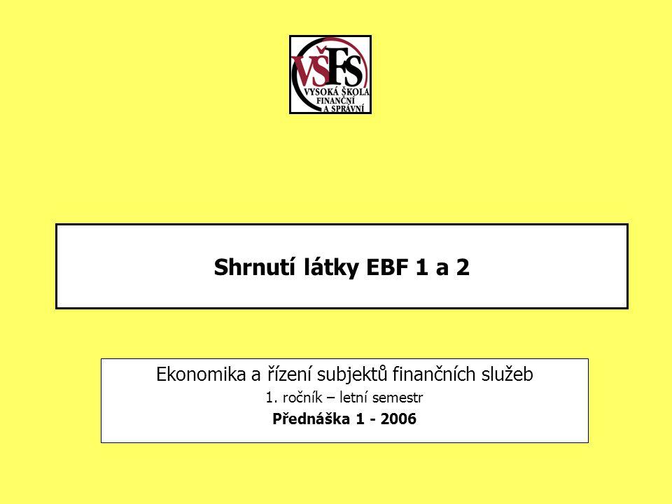 Shrnutí látky EBF 1 a 2 Ekonomika a řízení subjektů finančních služeb 1. ročník – letní semestr Přednáška 1 - 2006