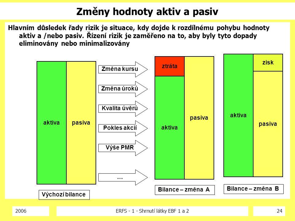 2006ERFS - 1 - Shrnutí látky EBF 1 a 224 Změny hodnoty aktiv a pasiv Hlavním důsledek řady rizik je situace, kdy dojde k rozdílnému pohybu hodnoty akt