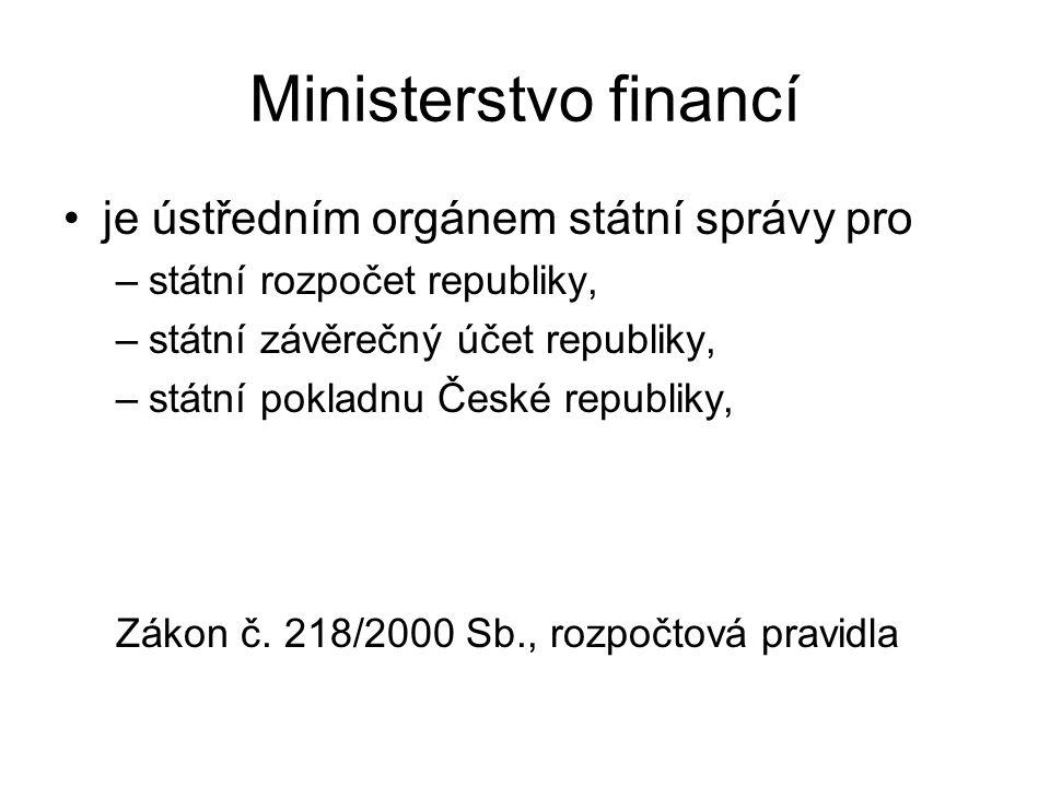Ministerstvo financí je ústředním orgánem státní správy pro –státní rozpočet republiky, –státní závěrečný účet republiky, –státní pokladnu České republiky, Zákon č.