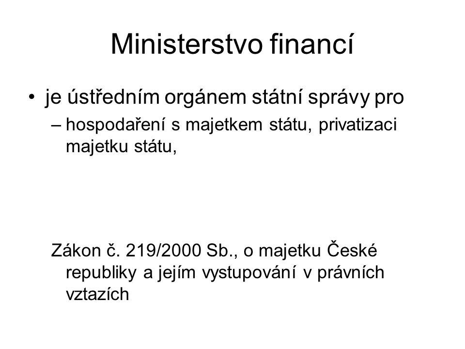 Ministerstvo financí je ústředním orgánem státní správy pro –hospodaření s majetkem státu, privatizaci majetku státu, Zákon č.