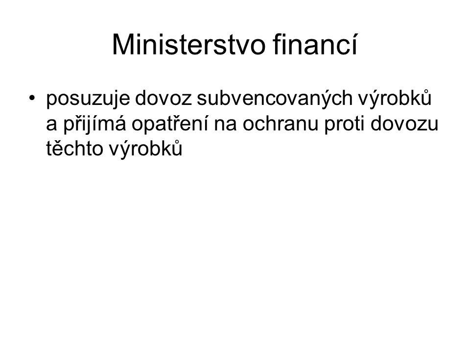 Ministerstvo financí posuzuje dovoz subvencovaných výrobků a přijímá opatření na ochranu proti dovozu těchto výrobků