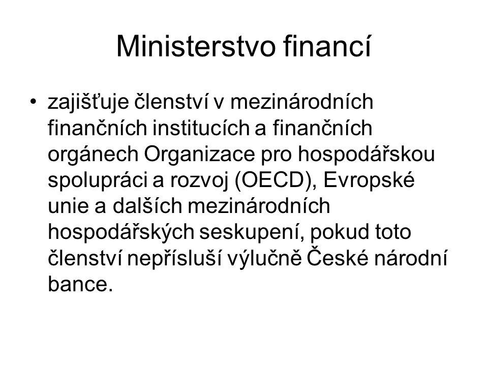 Ministerstvo financí zajišťuje členství v mezinárodních finančních institucích a finančních orgánech Organizace pro hospodářskou spolupráci a rozvoj (OECD), Evropské unie a dalších mezinárodních hospodářských seskupení, pokud toto členství nepřísluší výlučně České národní bance.