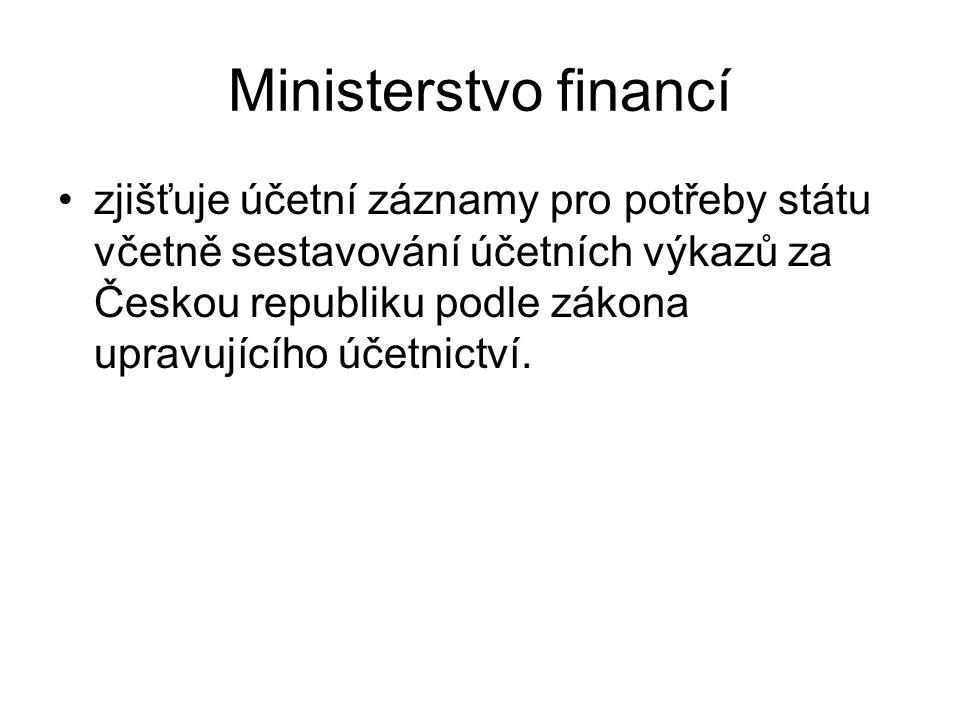 Ministerstvo financí zjišťuje účetní záznamy pro potřeby státu včetně sestavování účetních výkazů za Českou republiku podle zákona upravujícího účetnictví.