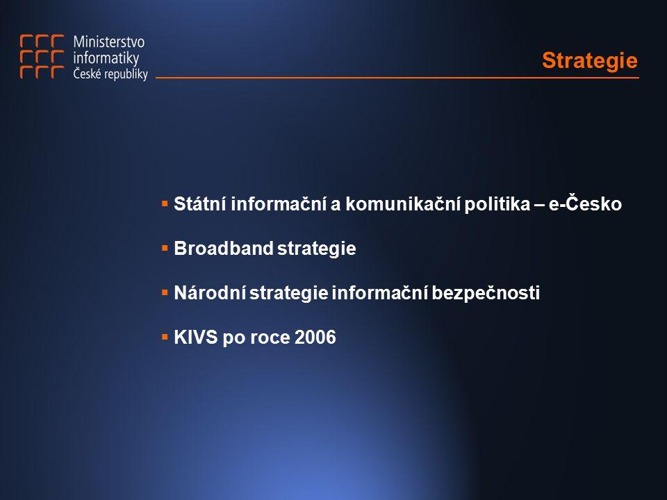 Strategie  Státní informační a komunikační politika – e-Česko  Broadband strategie  Národní strategie informační bezpečnosti  KIVS po roce 2006