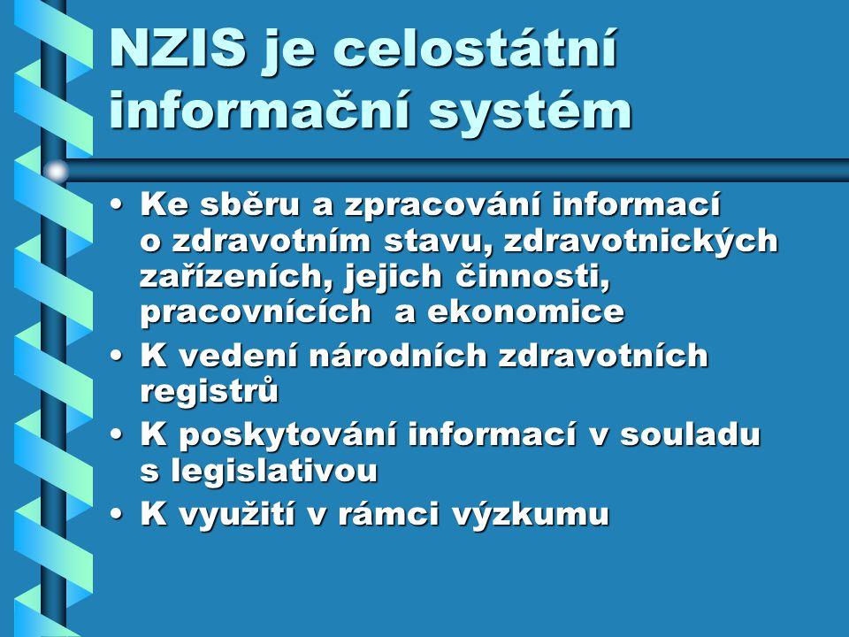 NZIS je celostátní informační systém Ke sběru a zpracování informací o zdravotním stavu, zdravotnických zařízeních, jejich činnosti, pracovnících a ekonomiceKe sběru a zpracování informací o zdravotním stavu, zdravotnických zařízeních, jejich činnosti, pracovnících a ekonomice K vedení národních zdravotních registrůK vedení národních zdravotních registrů K poskytování informací v souladu s legislativouK poskytování informací v souladu s legislativou K využití v rámci výzkumuK využití v rámci výzkumu