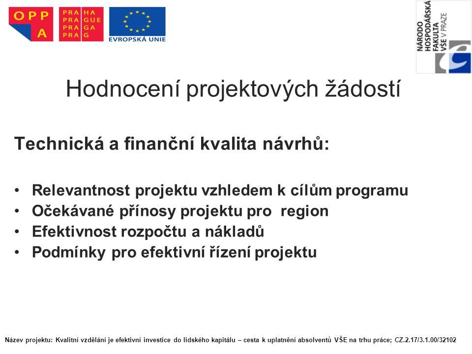Hodnocení projektových žádostí Technická a finanční kvalita návrhů: Relevantnost projektu vzhledem k cílům programu Očekávané přínosy projektu pro region Efektivnost rozpočtu a nákladů Podmínky pro efektivní řízení projektu Název projektu: Kvalitní vzdělání je efektivní investice do lidského kapitálu – cesta k uplatnění absolventů VŠE na trhu práce; CZ.2.17/3.1.00/32102