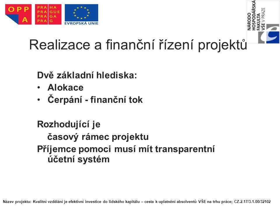Realizace a finanční řízení projektů Dvě základní hlediska: Alokace Čerpání - finanční tok Rozhodující je časový rámec projektu Příjemce pomoci musí mít transparentní účetní systém Název projektu: Kvalitní vzdělání je efektivní investice do lidského kapitálu – cesta k uplatnění absolventů VŠE na trhu práce; CZ.2.17/3.1.00/32102