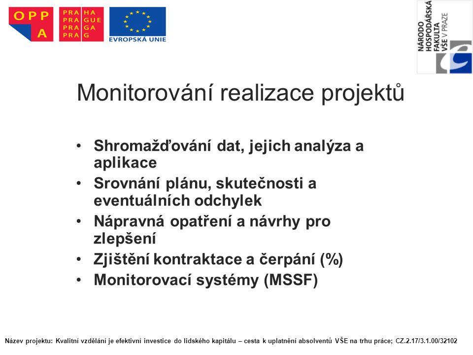 Monitorování realizace projektů Shromažďování dat, jejich analýza a aplikace Srovnání plánu, skutečnosti a eventuálních odchylek Nápravná opatření a návrhy pro zlepšení Zjištění kontraktace a čerpání (%) Monitorovací systémy (MSSF) Název projektu: Kvalitní vzdělání je efektivní investice do lidského kapitálu – cesta k uplatnění absolventů VŠE na trhu práce; CZ.2.17/3.1.00/32102