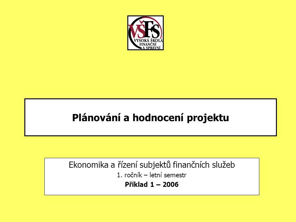 Plánování a hodnocení projektu Ekonomika a řízení subjektů finančních služeb 1. ročník – letní semestr Příklad 1 – 2006