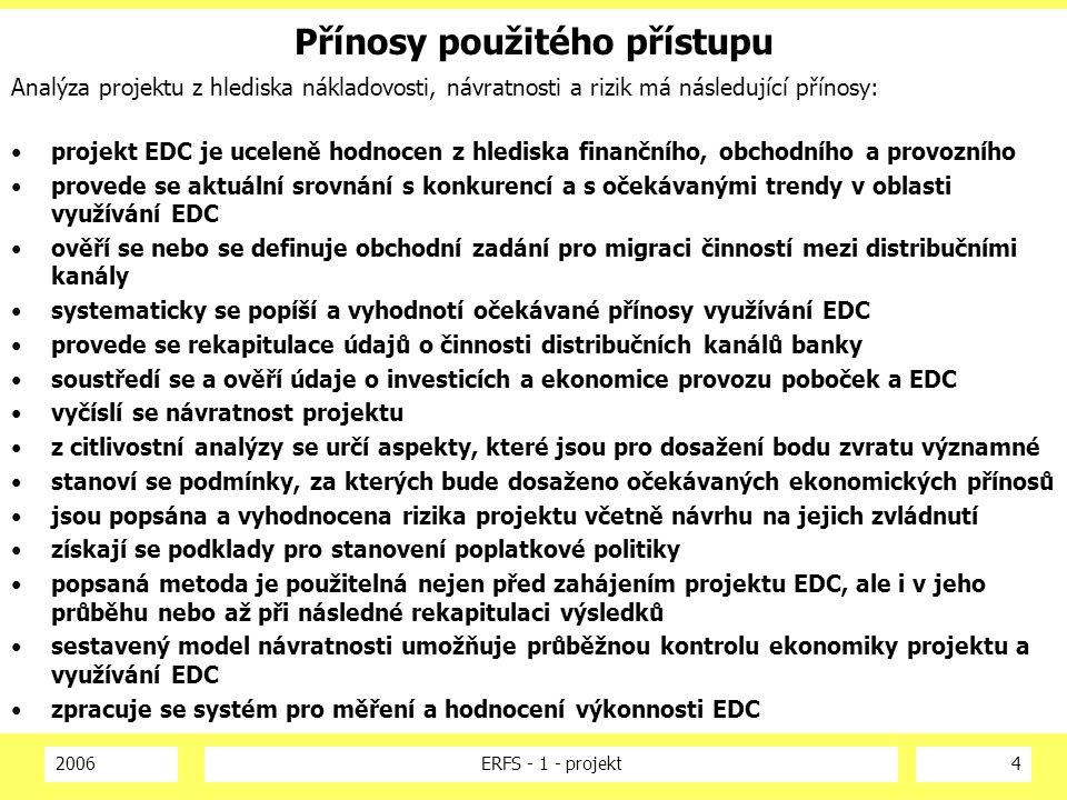 2006ERFS - 1 - projekt4 Přínosy použitého přístupu Analýza projektu z hlediska nákladovosti, návratnosti a rizik má následující přínosy: projekt EDC j