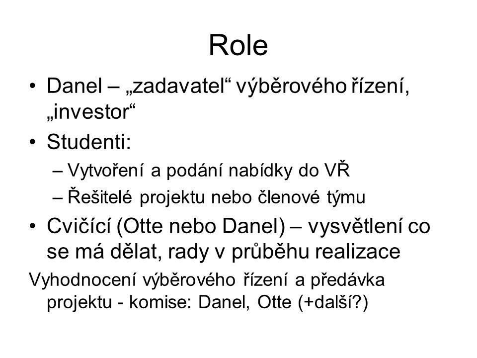 """Role Danel – """"zadavatel výběrového řízení, """"investor Studenti: –Vytvoření a podání nabídky do VŘ –Řešitelé projektu nebo členové týmu Cvičící (Otte nebo Danel) – vysvětlení co se má dělat, rady v průběhu realizace Vyhodnocení výběrového řízení a předávka projektu - komise: Danel, Otte (+další )"""