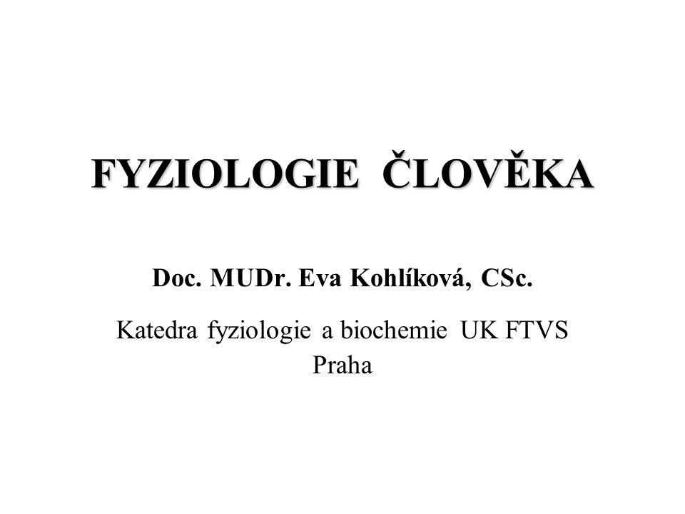 FYZIOLOGIE ČLOVĚKA Doc. MUDr. Eva Kohlíková, CSc. Katedra fyziologie a biochemie UK FTVS Praha
