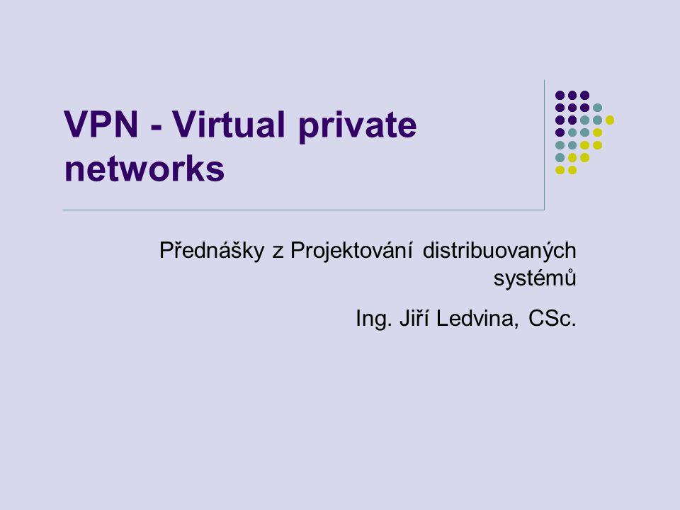 VPN - Virtual private networks Přednášky z Projektování distribuovaných systémů Ing.