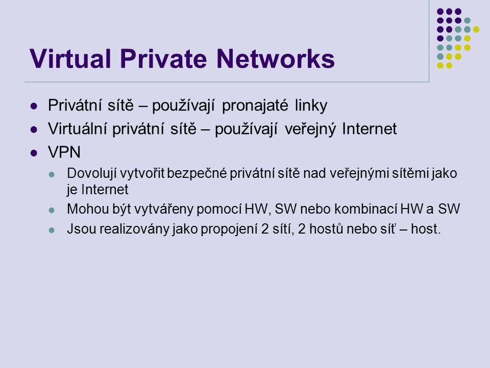 Privátní sítě – používají pronajaté linky Virtuální privátní sítě – používají veřejný Internet VPN Dovolují vytvořit bezpečné privátní sítě nad veřejnými sítěmi jako je Internet Mohou být vytvářeny pomocí HW, SW nebo kombinací HW a SW Jsou realizovány jako propojení 2 sítí, 2 hostů nebo síť – host.