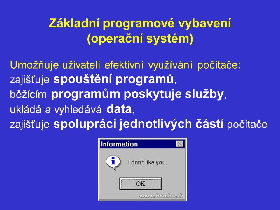 Základní programové vybavení (operační systém) Umožňuje uživateli efektivní využívání počítače: zajišťuje spouštění programů, běžícím programům poskytuje služby, ukládá a vyhledává data, zajišťuje spolupráci jednotlivých částí počítače