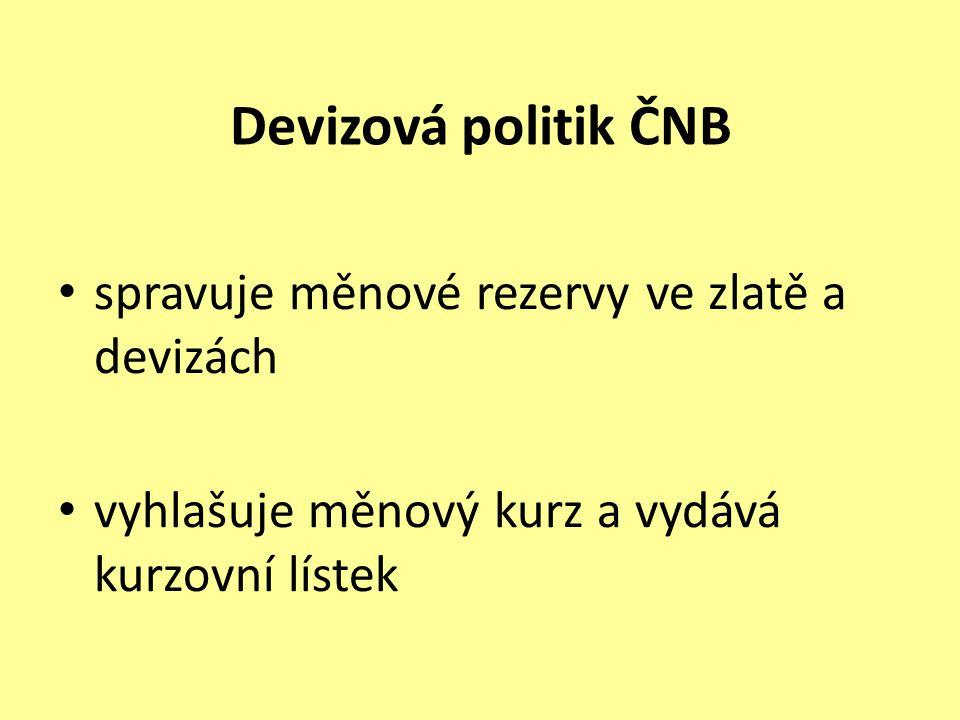 Devizová politik ČNB spravuje měnové rezervy ve zlatě a devizách vyhlašuje měnový kurz a vydává kurzovní lístek