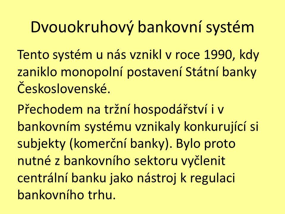 Dvouokruhový bankovní systém Tento systém u nás vznikl v roce 1990, kdy zaniklo monopolní postavení Státní banky Československé.