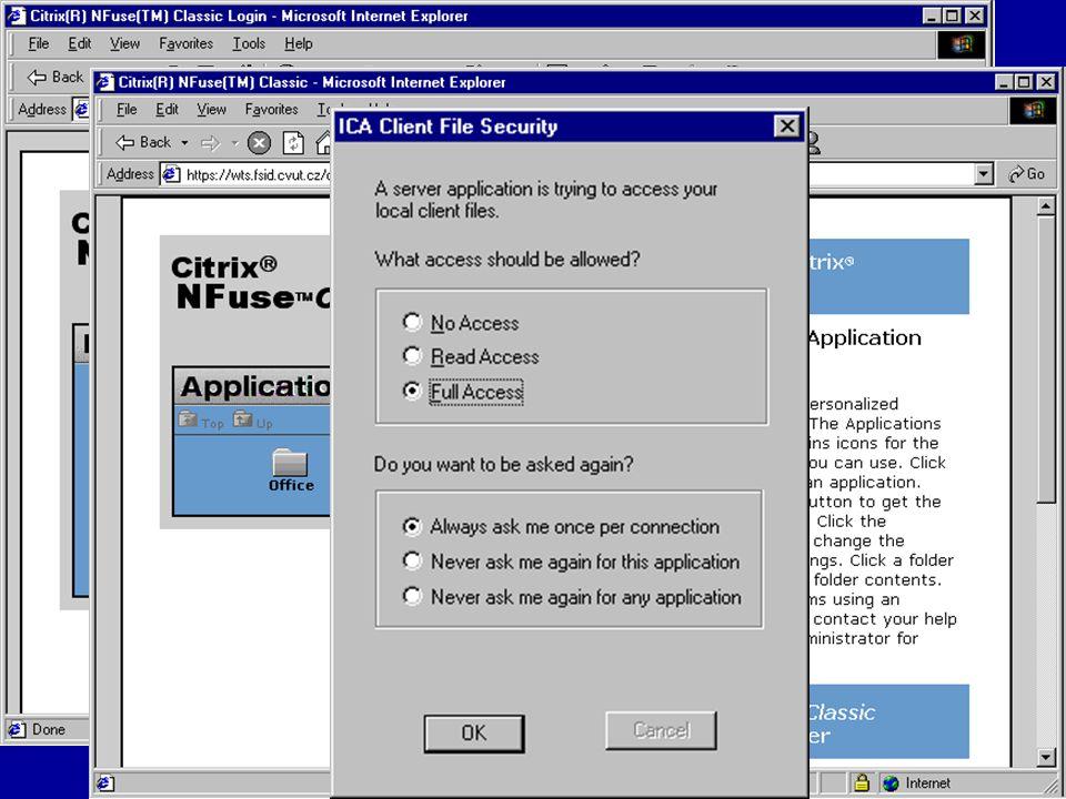 Citrix umožňuje pracovat i prostřednictvím Internetu. Je však nutné stáhnout příslušného klienta z adresy www.citrix.com/download. Na této stránce zvo