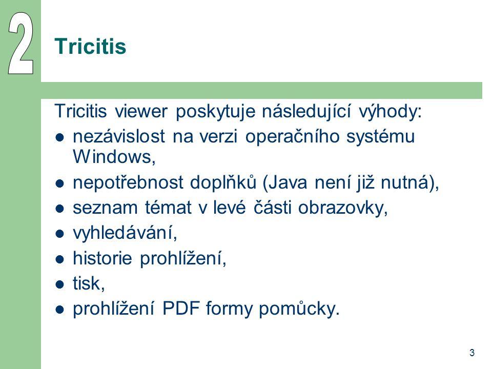 3 Tricitis Tricitis viewer poskytuje následující výhody: nezávislost na verzi operačního systému Windows, nepotřebnost doplňků (Java není již nutná), seznam témat v levé části obrazovky, vyhledávání, historie prohlížení, tisk, prohlížení PDF formy pomůcky.