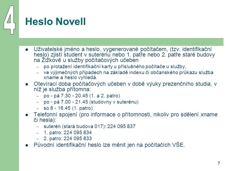 7 Heslo Novell Uživatelské jméno a heslo, vygenerované počítačem, (tzv.