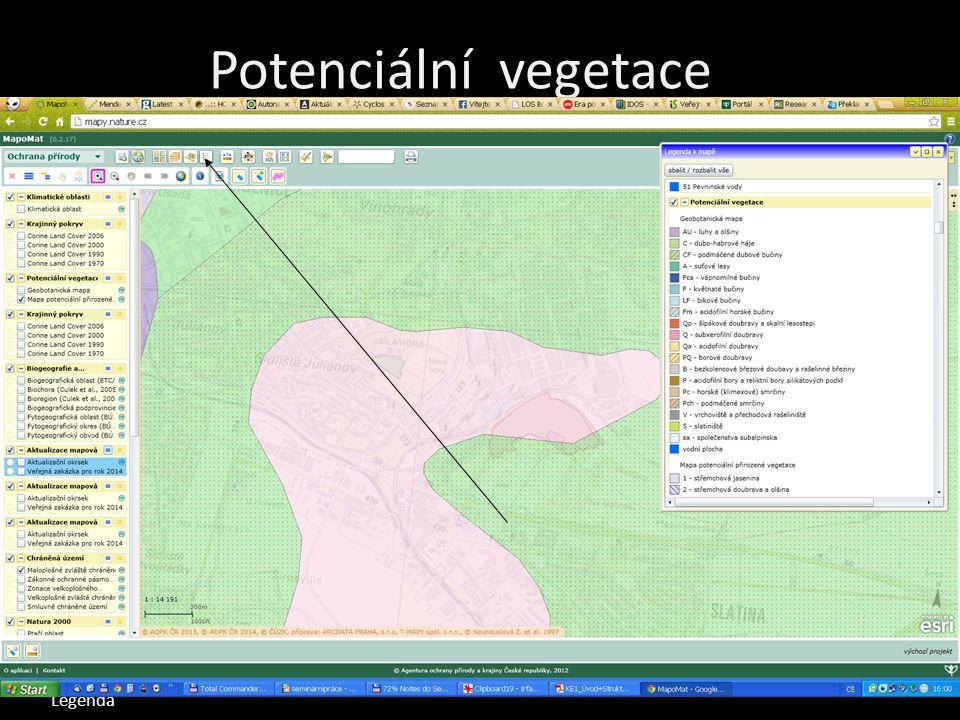 Legenda Mapomat Mapa potenciální vegetace Mapa současné vegetace Mapa chráněných území Mapa ekologické stability Potenciální vegetace