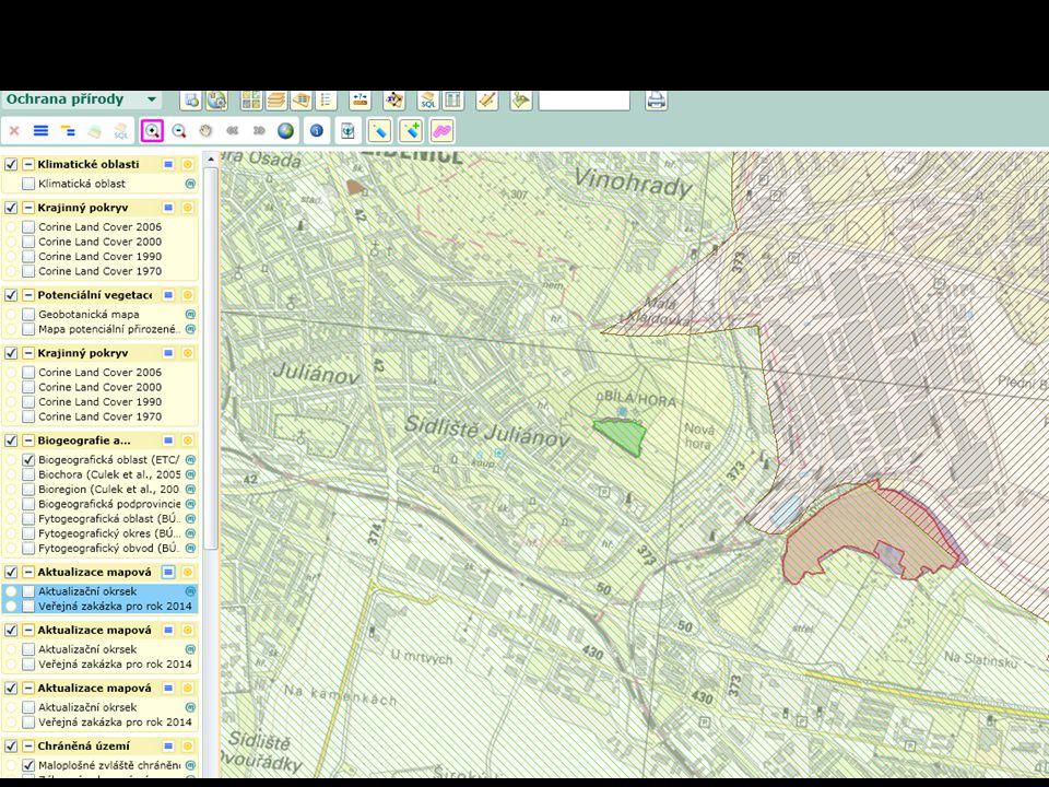 Ekologie krajiny Mapomat Mapa potenciální vegetace Mapa současné vegetace Mapa chráněných území Mapa ekologické stability Současná vegetace