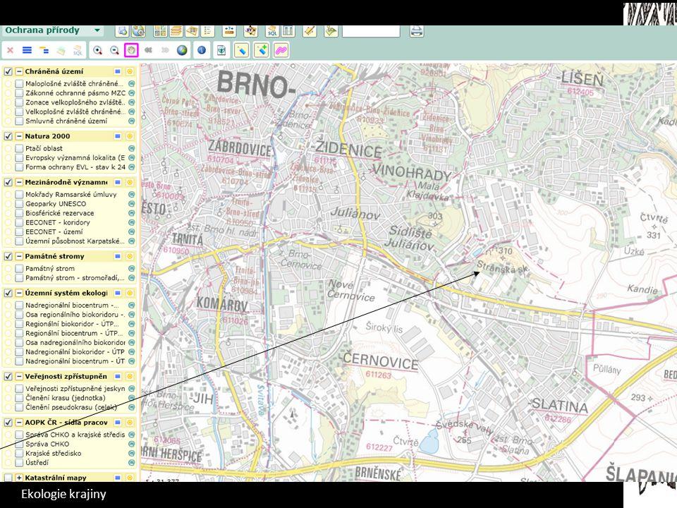 Ekologie krajiny Mapomat Mapa potenciální vegetace Mapa současné vegetace Mapa chráněných území Mapa ekologické stability Seminární práce