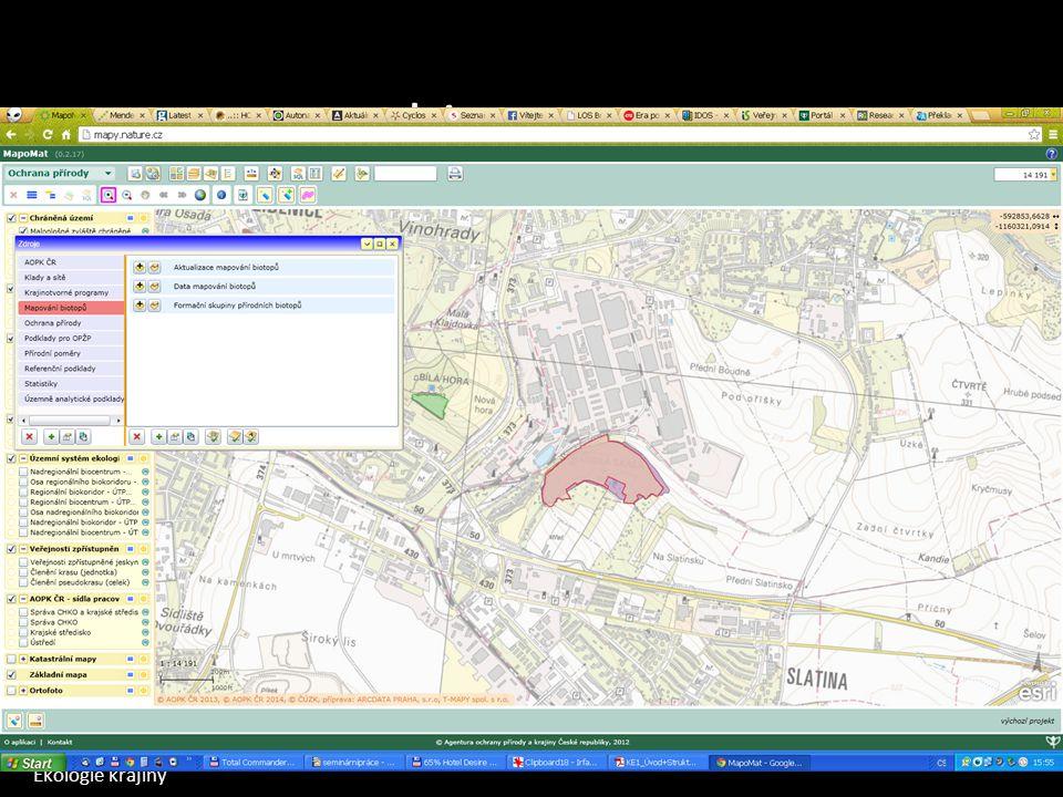 Ekologie krajiny Mapomat Mapa potenciální vegetace Mapa současné vegetace Mapa chráněných území Mapa ekologické stability biotopy