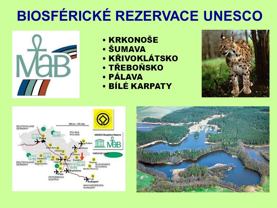 KRKONOŠE ŠUMAVA KŘIVOKLÁTSKO TŘEBOŇSKO PÁLAVA BÍLÉ KARPATY BIOSFÉRICKÉ REZERVACE UNESCO