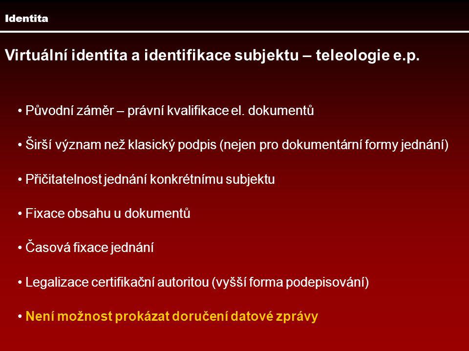 Identita Virtuální identita a identifikace subjektu – teleologie e.p. Původní záměr – právní kvalifikace el. dokumentů Širší význam než klasický podpi